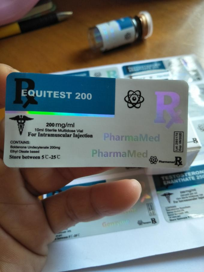 Equitest 10Ml Holographic Glass Vial Labels With PP Glossy Lamination