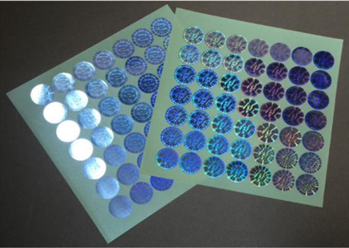 Die Cut Round Security Hologram Sticker Pantone Colors Various Designs