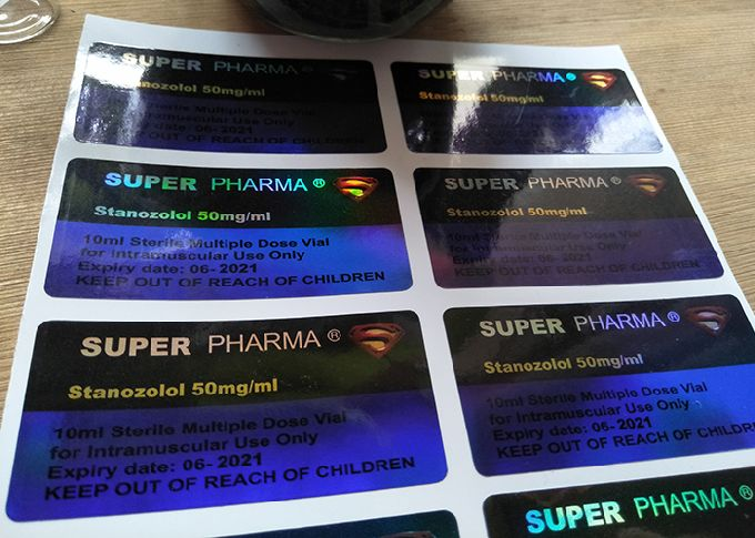 Hologram Laser Label Stickers With Printing For Super Pharma Glass Bottle Vial
