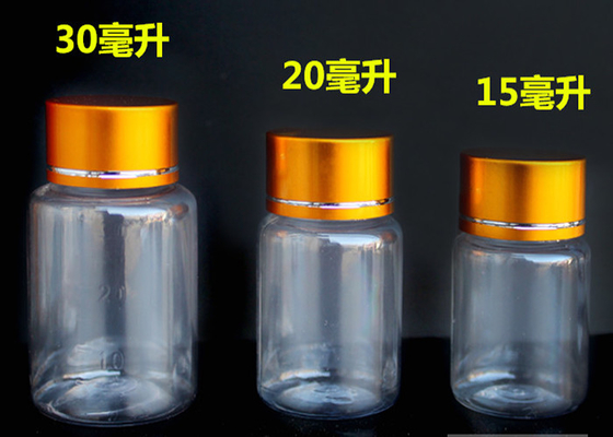 China Small Clear Plastic Bottles With Gold Sliver Cap And Protection Sensitive Seal supplier