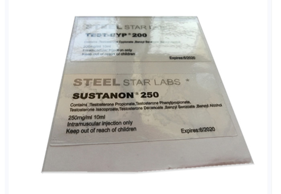 China Steel Star Labs Transparent Clear Custom Vial Labels 6X3 Cm Size For Steroid V supplier