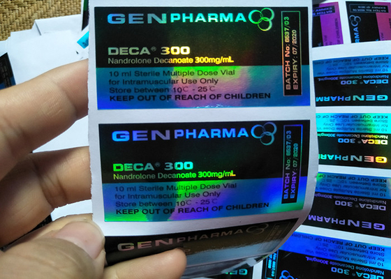 China Blue Color Custom Hologram Print Prescription Bottle Label For 10Ml Vial factory