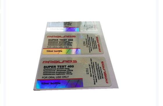 Hologram Super Test 400 Injection Custom Vial Labels , Steroid Vial Labels For Prolabs